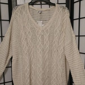 New Winter White Sonoma V Neck Sweater sz L